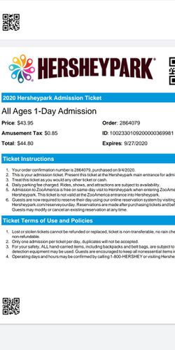 2 Hershey park tickets for Sale in Rochester,  NY