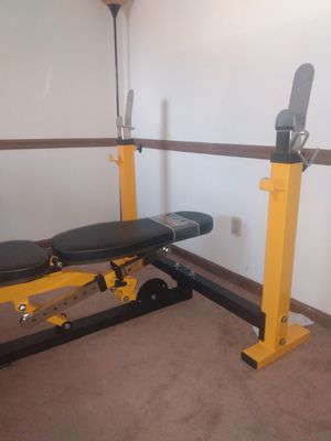 Adjustable home bench with squat rack for Sale in Glen Raven, NC
