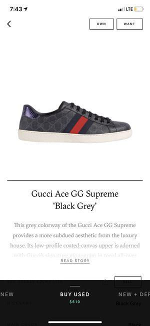 "Gucci Ace GG Supreme ""Black Grey"" Used for Sale in Menlo Park, CA"