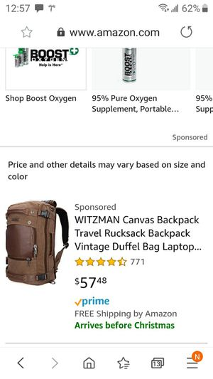 Canvas backpack Travel duffle bag Laptop for Sale in St. Petersburg, FL