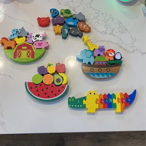Wooden Toys - 3 Balancing Toys, 1 Puzzle, And Set Of Ocean Animals for Sale in Vancouver, WA