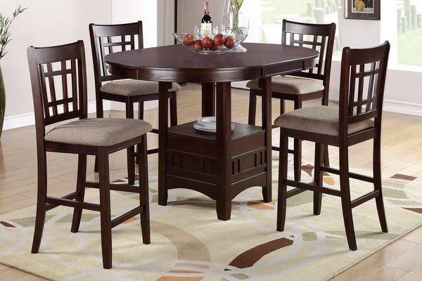 5 pcs Counter height table Dark brown finish•GREAT DEAL!!•Only $40 down•No credit check