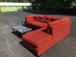 Red/ Sofa and coffee table with two lamp tables (sofa and tables sold separately) for Sale in Brockton, MA