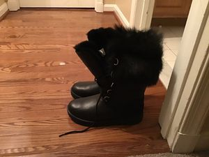UGG AYA Black Waterproof Leather Fur Toscana Cuff Tall Snow Boots Size 10 Womens new in box for Sale in Glenn Dale, MD
