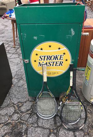 5 tennis Rackets & Oscillating Tennis Ball Serving Machine for Sale in Atlanta, GA