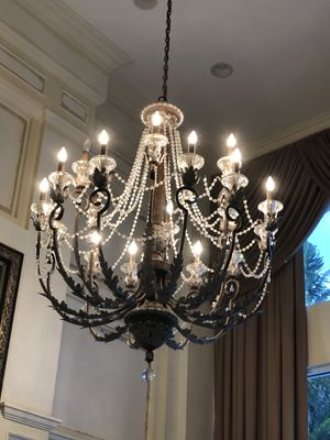 Antique candelabra chandelier with crystal beading for Sale in Boca Raton, FL