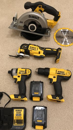 DeWalt 20v MAX XR Brushless multi-tool, Circular Saw, Drill/Impact Driver 4-Tool Combo Kit with 2 batteries, charger and tool bag. for Sale in La Puente, CA