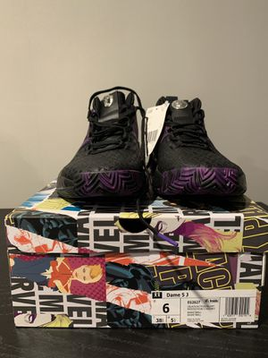 NEW WAKANDA Adidas Dame 5 Shoes Marvel Black Panther BASKETBALL Purple EG2627 Kids Size 6 Women's 7.5 for Sale in Green Brook Township, NJ