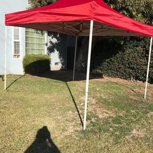 10x10 Pop up Canopy Outside Canopy, Patented One Push Tent Canopy with Wheeled Carry Bag, Bonus 8 Stakes and 4 Ropes, Red for Sale in Inglewood, CA