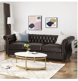 Sofa - Tufted Faux Leather Sofa with Scroll Arms for Sale in Fairview,  OR