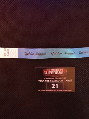 "ONE wrist band for $100 for the 2019 Golden Nugget Super Bowl Party. This is entry for one table seat for the ""Super Bash"" in the showroom that is C for Sale in Las Vegas, NV"
