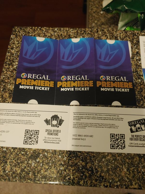 Movie Tickets, Regal Cinemas. Great Deal! Any movie any date, no expiration!