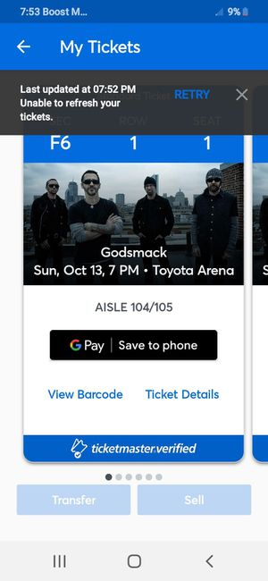 Godsmack right now they go on at 930 !! for Sale in Corona, CA