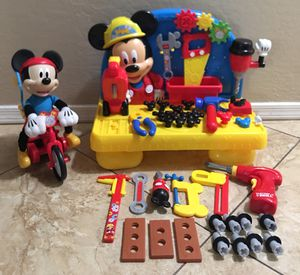 Mickey Mouse play bench tools & silly wheelie Riding Bike for Sale in Peoria, AZ