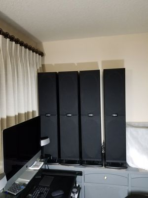 Polk Audio stereo speakers to include 12 inch subwoofer and 8 inch center channel for Sale in Gresham, OR