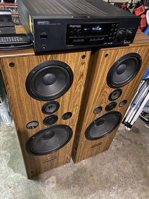 """KENWOOD STERIO RECEIVER WITH PIONEER 12"""" speakers Older but loud $$45 cash for Sale in Pasadena, TX"""