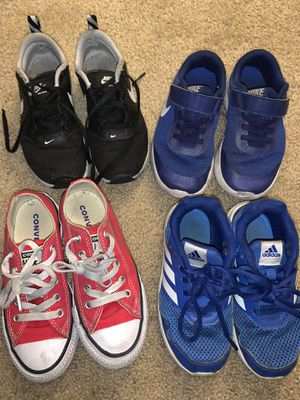 Boys Shoes sizes listed in description 4 pairs of shoes and 1 pair of rain boots for Sale in Anaheim, CA
