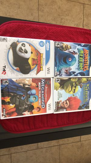 FOUR sealed Wii games that are Brand New in Package—Shrek,Megamind,Kung fu Panda 2,Monsters vs Alein for Sale in Santa Clarita, CA
