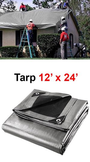 (NEW) $25 Heavy Duty 12'x24' 10mil Canopy Poly Tarp Reinforced Tent Car Boat Cover Tarpaulin for Sale in Whittier, CA