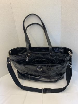 Coach Signature Stripe Stitched Multifunction Tote Diaper Baby Bag Black F19256 for Sale in Pelham, NH