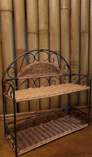 Pier 1 Wicker Iron Shelf + Free Basket for Sale in San Diego, CA