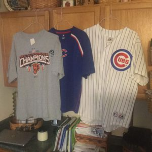 Chicago Cubs stitched jersey Aramis Ramirez size xl, Cubs warmup jersey sixe xl, and vintage never worn Chicago Bears 2006 Conference Champs shirt for Sale in Plainfield, IL