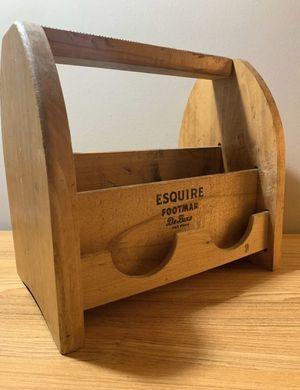 Vintage 1950's Esquire Footman De Leuxe Primitive Wood Shoe Shine Box Polish Foot for Sale in Columbus, OH