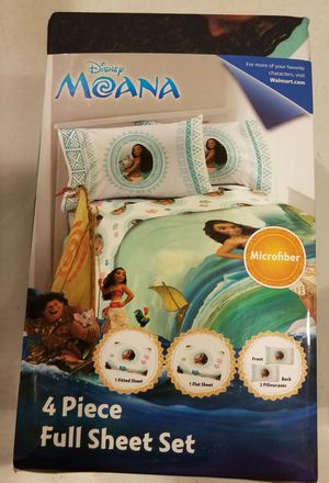 New 4 pcs Moana Full sheet set + plush throw for Sale in Elburn, IL