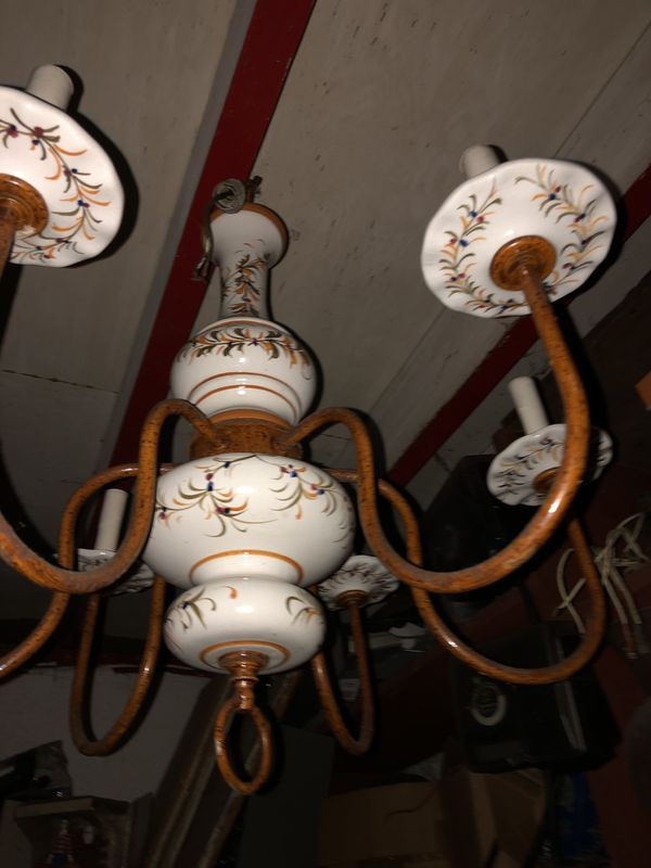 Hand-painted porcelain chandelier