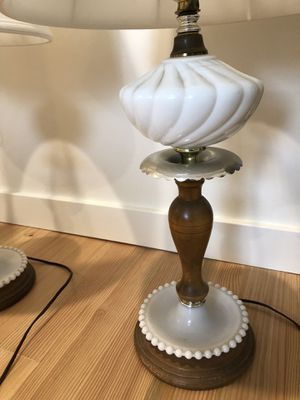 Pair of white milk glass lamps for Sale in Portland, OR