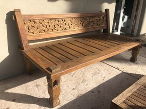Indonesian Carved Teak Wood Sofa Daybed for Sale in Scottsdale, AZ