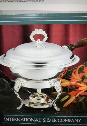 Silver Lated Chafing Dish With Sterno Can Holder for Sale in Fontana, CA