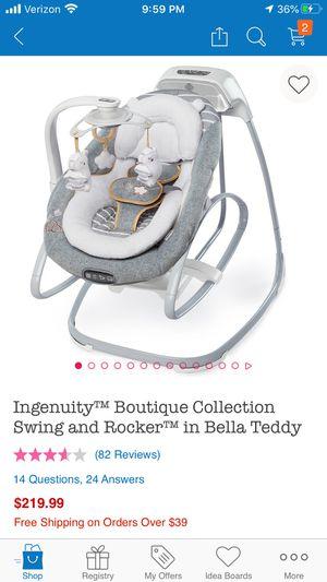 Ingenuity baby swing/rocker - amazing! for Sale in Alexandria, VA