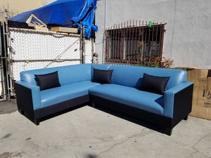 NEW 7X9FT TEAL BLUE LEATHER COMBO SECTIONAL COUCHES for Sale in Clovis, CA