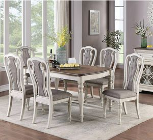 Elegant 7 piece Dining set Ivory and Brown chairs have a Tufted Detail order now before its sold out!!! for Sale in Riverside, CA