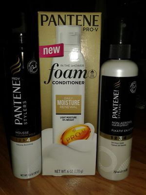 3 for $6 ...$2 each Pantene hair mousse maximum hold Pantene non aerosol hairspray extra strong hold and foam conditioner daily moisture renewal for Sale in Tampa, FL