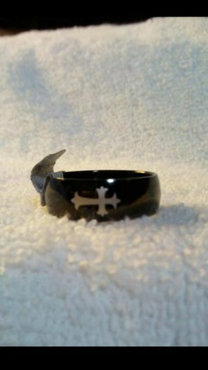 Brand new black stainless steel and cross mens ring size 12 for Sale in Hemet, CA