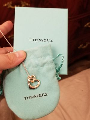 Brand new & Never used Authentic Tiffany & Co Elsa Peretti Open Heart Pendant Necklace ~ sterling silver & 18K rose gold. for Sale in Seattle, WA