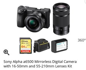 Sony alpha a6500 with 2 lens. Digital Camera for Sale in Los Angeles, CA