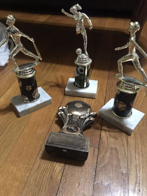 Sports trophies with no name plaques - 2 soccer and 2 baseball for Sale in Petersburg, VA