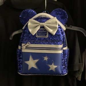 Wishes Come True Blue Sequin Minnie Mouse Bow Loungefly Backpack Disney NWT for Sale in Yorba Linda, CA