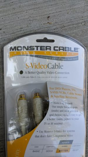 Monster cable s video cable video connection for Sale in San Jose, CA