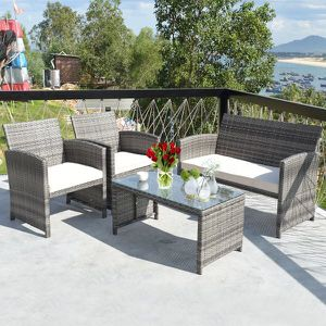 4PCS Patio Rattan Furniture Set Conversation Glass Table Top Cushioned Sofa for Sale in South El Monte, CA