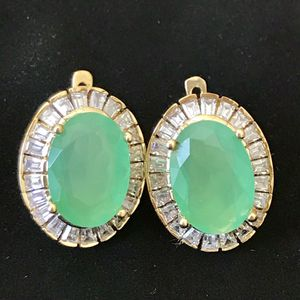 Sterling silver 925 stamped genuine emerald handmade earrings women's jewelry accessory for Sale in Silver Spring, MD