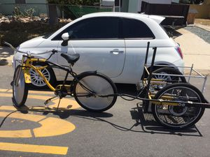 Limited edition moon series dynamic glide bicycle only one thousand made wheel covers are$350 alone also has 48 volt electric trailer that pushes bi for Sale in Imperial Beach, CA