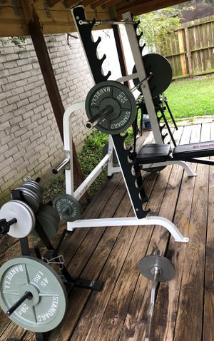 Weight Set & Chrome Bar Home Gym Exercise for Sale in Houston, TX