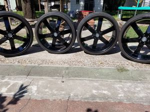"Black 26"" U2 RIMS N TIRES for Sale in Houston, TX"