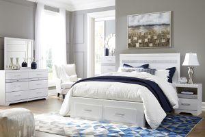 White Footboard Storage Platform Queen or King bedroom set - bed, dresser, mirror, nightstand    SAME DAY DELIVERY 🚚 for Sale in Rosenberg, TX