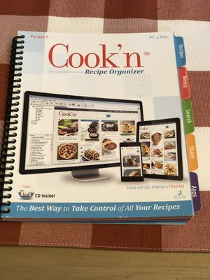 Cook'n' recipe organizer, comes with CD. PC and Mac compatible for Sale in Tolleson, AZ