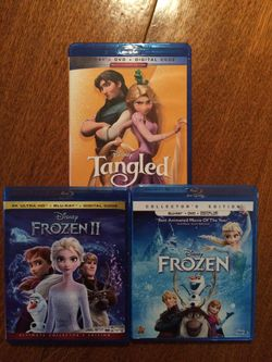 Frozen 1-2 and Tangled Blu-ray, Disney Marvel DC Harry Potter the Star Wars movies 3D Bluray and dvd collectors for Sale in Everett,  WA